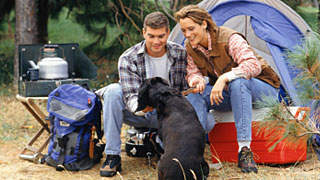 A couple with their dog camping