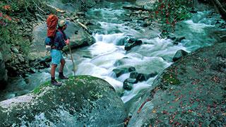 Man hiking next to river