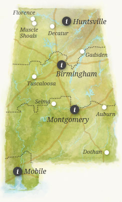 Alabamas Official Travel Guide AlabamaTravel Local Tips For - State of alabama map with cities